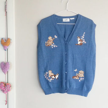 Kittens Sweater Vest- Vintage Sweater- Vest Cardigan- Denim Blue Cotton- Vintage Clothing- Hipster- Kitsch- Boho Chic- Butterflies - Floral