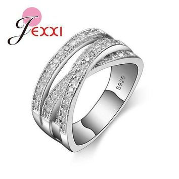 ac PEAPO2Q JEXXI 2017 Simple Wedding Rings For Women Shiny Elegant Cubic Zircon Jewelry 925 Sterling Silver Anniversary Engagement Ring