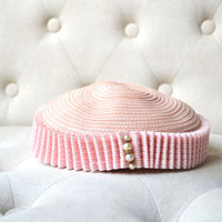 1940s Pillbox Hat in Petal Pink with Pearl Accents Cathy Modes