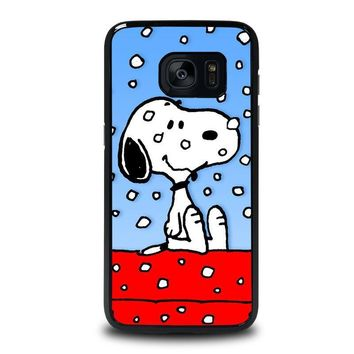 snoopy dog christmas samsung galaxy s7 edge case cover  number 1