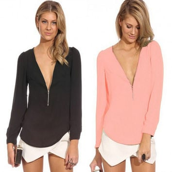 Womens Sexy Zipper Chiffon Long Sleeve blouse Top Gift 14