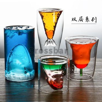 Rose Transparent and heat-resistant glass Double-deck Cocktail Personality bar Wine Glass Originality grace Flower cup