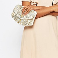 Glamorous | Glamorous Embroidered Clutch Bag in Ivory With Beading at ASOS