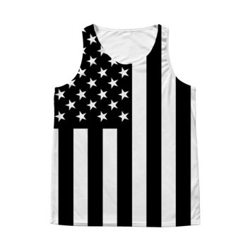 Black and White American Flag All Over Tank Top  - 4th of July