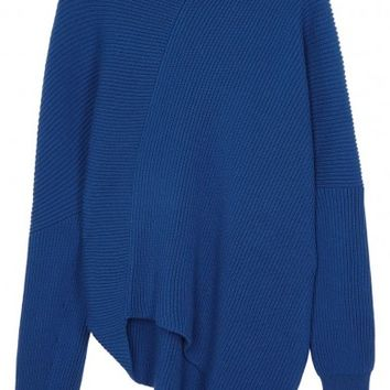 Stella McCartney Blue asymmetric ribbed wool jumper