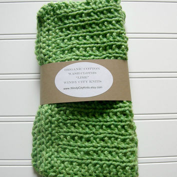 Organic Cotton Wash Cloth Set Lime by WindyCityKnits on Etsy