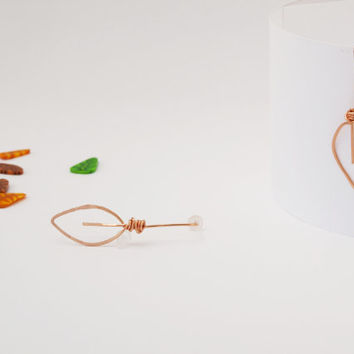 Hammered Minimal Leaf Post, Copper Foliage Earrings, Long Botanical Stud, Nature Marquise Jewels