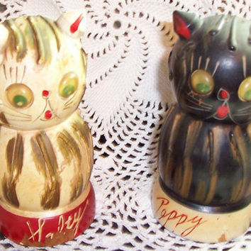 Vintage SALTY and PEPPY Salt and Pepper CAT by TheMaineCoonCat