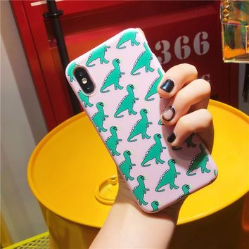 Cute Dinosaur Patterned Phone Case For iphone 6 6S 7 8 plus Cases For iphone X 5 5S SE Soft Cover Funny Cartoon Matte Cases Capa