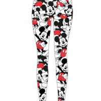 Disney – Lovely Mickey Mouse Print Leggings In Multi | Thirteen Vintage