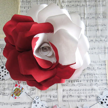 ALICE in wonderland rose - painting the roses red - wall art paper rose sculpture - Flower Taxidermy No.85