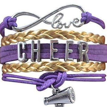 Girls Cheer Infinity Bracelet- Purple & Gold