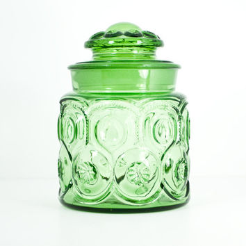 Vintage 1970s Glass Candy or Cookie Jar with Lid - green retro
