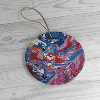 Ceramic Ornaments with Beautiful Art Design, Alcohol Ink Print Ornament, Christmas Gifts, Ornaments for Christmas Tree