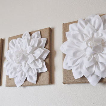 Three White Dahlias Flowers on Burlap Canvases