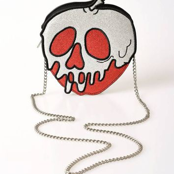 Danielle Nicole Red & Silver Glitter One Bite Poisoned Apple Leatherette Crossbody Purse