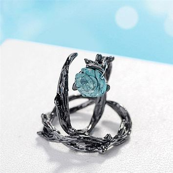 2018 New Thorn lovers rose opening Fashion Ring Charm Female Inlaid Red Rose Rings