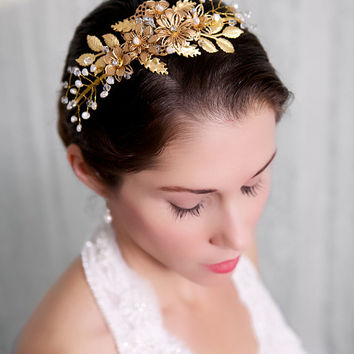 Gold Flower Bridal Headband, Pearl, Crystal Hair Piece, Headpiece, Vine, Wedding Halo, Tiara, Bridal Accessories, STYLE 220 - Gold or Silver