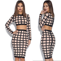 2Pcs Punk Style Women Long Sleeves Grid Bare Midriff Crop Top Sexy Bodycon Bandage Dress = 5617074177