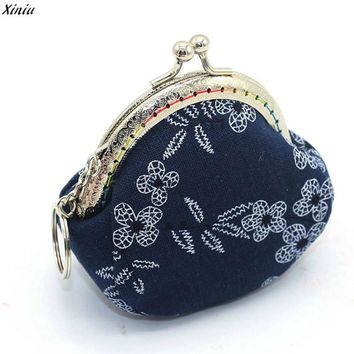 Hot Women Cute Coin Purse Retro Vintage Flower Canvas Small Wallet Girls Coin Purse Small Wallet Hasp Purse Clutch Bag