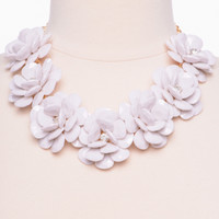 Large Rosette Necklace, White