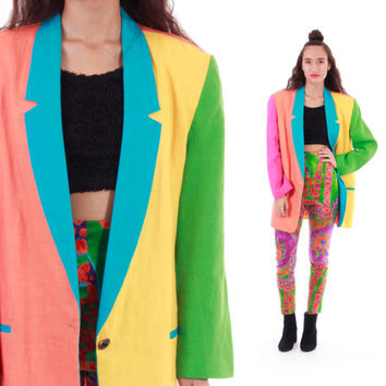 90s Neon Linen Blazer Color Block Hot Pink Blue Green Yellow 80s New Wave Hipster Resort Unisex Outerwear Womens XL Mens Large
