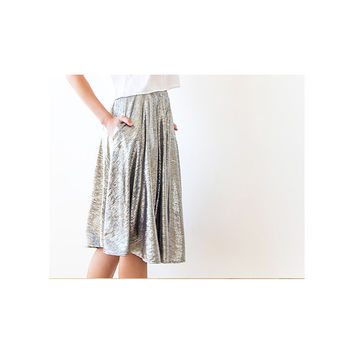 Midi Skirt , Silver Skirt, Knee Length Skirt With Pockets , Metallic Skirt , Party Outfit , Silver Short Skirt