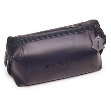 Personalized Leather Dopp Travel Bag Free Engraving