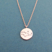 Disc, Cubic, Zodiac 12 signs, Gold, Silver, Rose gold, Necklace, Astrological sign, Necklace, Birthday, Lovers, Best friends, Gift, Jewelry