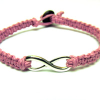 Infinity Bracelet, Light Pink Macrame Hemp Jewelry, Couples or Friendship Bracelet - Free North American Shipping