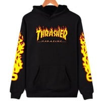 Thrasher Fashion Unisex Flame Print Long Sleeve Pullover Hoodies Sweater Top