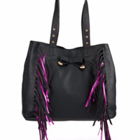 Betsey Johnson Purple Fringe Handbag