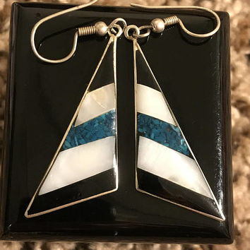 Vtg ALPACA Silver Earrings / Striped Blue Enamel White Mother Of Pearl and Black Onyx Inlay / Triangle Shaped Hook Earrings / Made In Mexico
