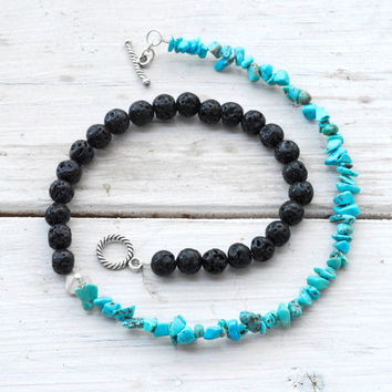 Lava Rock and Turquoise Necklace, Blue and Black Jewelry, Dainty Necklace, Black Lava Jewelry, Gift Under 100, Santorini Greek Jewelry