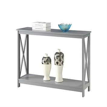 Grey Wood Console Sofa Table with Bottom Storage Shelf