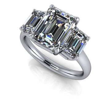 Three Stone Ring Emerald Cut Ring - Moissanite Engagement Ring - Platinum Three Stone Ring