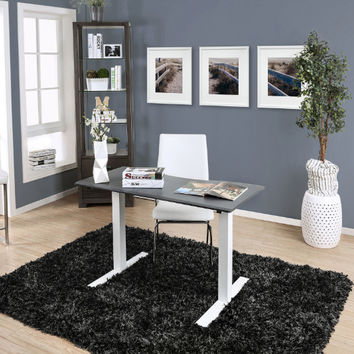 Furniture of america CM-DK6454S-GY Hedvig gray finish metal power height adjustable small stand up desk