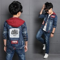Children's clothing sets boys denim suit 2018 new autumn children's jackets big kids hooded jeans two pieces set 3 to 14 years