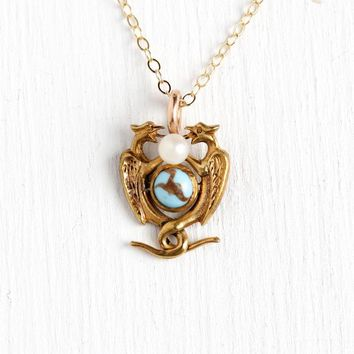 Mythological Creature Necklace - Antique Edwardian Gold Tone Stick Pin Conversion Pendant - Griffin Dragon Simulated Pearl Turquoise Jewelry