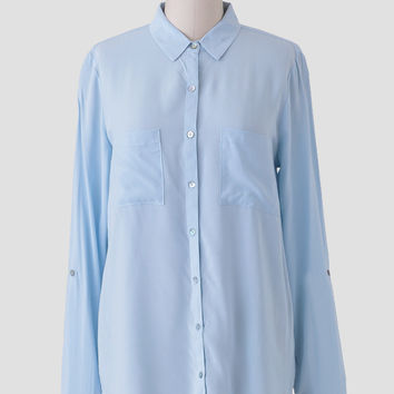 Chiara Button-Up Blouse In Light Blue
