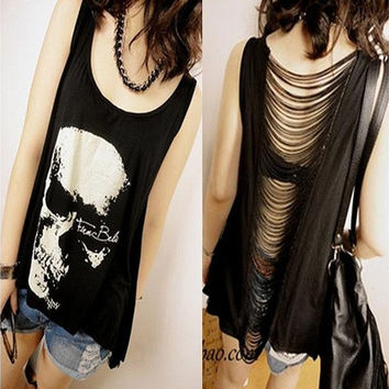 White Black Skull Print Fringe T-shirts 2014 HOT SELL Women Casual t shirt Skull Punk Singlet Dress Vintage Tank Pop Sexy Top long Tee T-Shirt [8323046081]