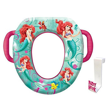 Disney Little Mermaid Ariel Potty Seat - Padded, Soft, and Durable - For Regular and Elongated Toilets - Removable Cushion for Easy Cleaning - Firm Grip Handles - Blue and Pink