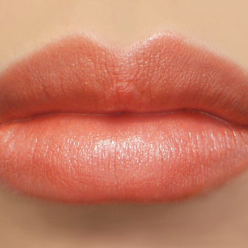 Vegan Mineral Lipstick - Snapdragon (earthy coral peach color, pearlescent) natural lip tint, balm, lip colour