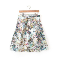Summer Women Pleated Skirt Sweet Girl Skirt High Waist Slim Skirt Floral Print Elegant Skirt