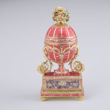 Pink Faberge Egg with Flowers Bouquet on Top Handmade Trinket Box by Keren Kopal Decorated with Swarovski Crystals