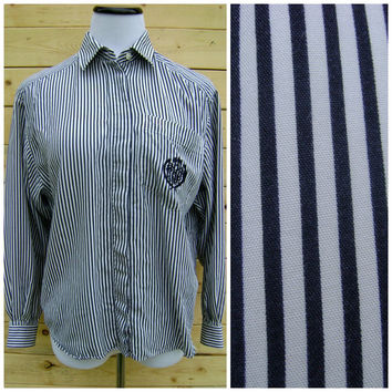 80s striped NAUTICAL blouse vintage navy white embroidered crest pocket size M medium RAYON button down up hipster preppy shirt ladies top
