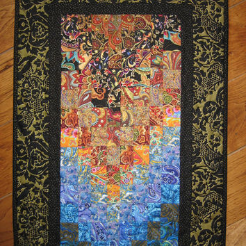 Paisley Passion Art Quilt Fabric Wall Hanging Blue Pink Red Green Black Gold Handmade