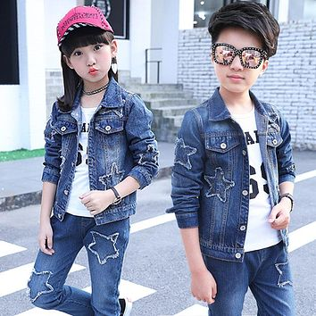 Kids Spring Fashion Jackets New Denim Coat for Boys Girls Quality Jeans Coat Children Outwear