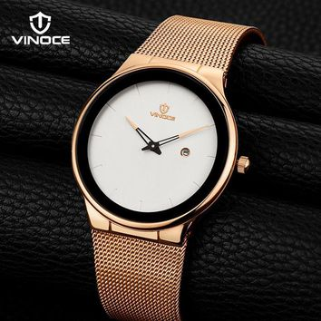 VINOCE Mens Watch Stainless Steel 2018 Simplicity Luxury Quartz Watch Men Top Brand Fashion Business Waterproof Gold