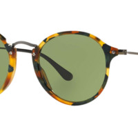 Ray Ban Round Fleck Sunglasses Spotted Green Havana with Green lenses RB2447 11594E
